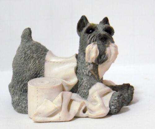 STONE CRITTERS SCHNAUZER DOG FIGURINE PLAYING W/TOILET PAPER UDC SCB-070 1992