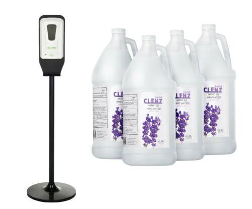 Alpine Industries Automatic Sanitizer Dispenser w/ Floor Stand & 4 Gel Sanitizer