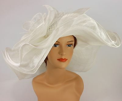 New Woman Church Kentucky Derby Wedding Sinamay 3 Layers Dress Hat 3034 White