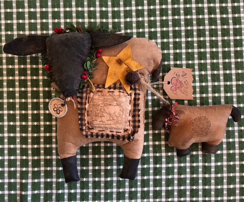 ShEeP Hanger PrImiTive FoLk Art RuStic Plush Decoration Doll Handmade CoUntry