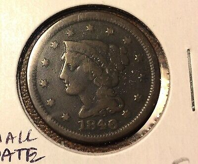 1846 Philadelphia Mint Copper Braided Hair Large Cent - FINE- small date
