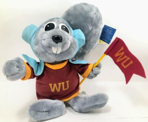 """Vtg 2001 Rocky Squirrel 16"""" Plush Wossamotta University Shirt & Flag Toy Network"""