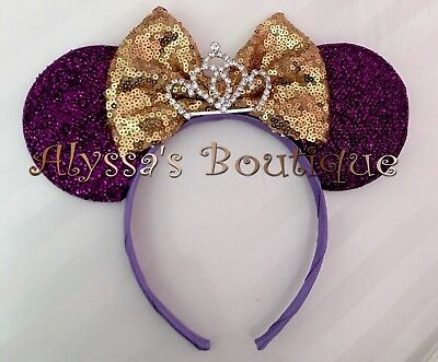 *NEW* Princess Minnie Mouse Tiara Ears Headband Shiny Purple Sparkly Gold Sequin Gold Sequin Tiara