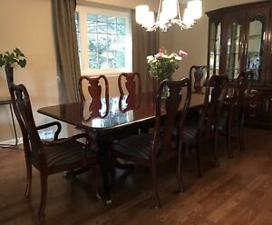 Victorian Dining Table & Decorative Chairs + Matching Hutch!