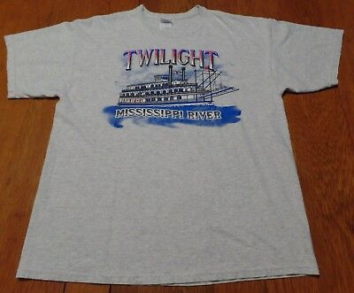 #2918-10 Twilight Riverboat Mississippi River Graphic T-Shirt XL