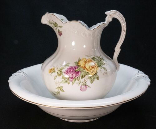 """Antique Buffalo Pottery 12"""" Pitcher.. 16"""" Bowl Basin Roses Yellow & Pink Signed"""
