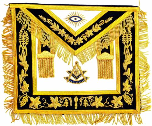 Hand MADE GOLD Bullion Masonic Past Master Embroidered Aprons Apron HIGH END