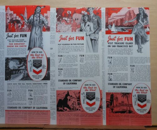 Three 1939 magazine ads for Standard Oil Co. - Visit Golden Gate Exposition CA