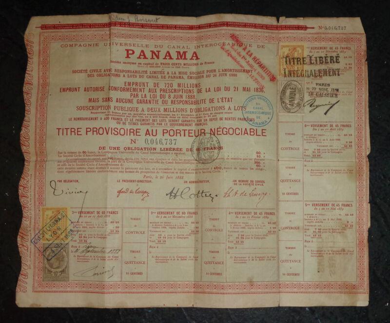 rare 1888 French bond for failed original Panama Canal construction