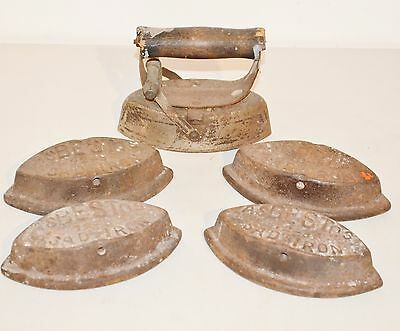 Antique Cast IRON  ASBESTOS SAD Vintage Lot ~ 4 Bases &  Handle