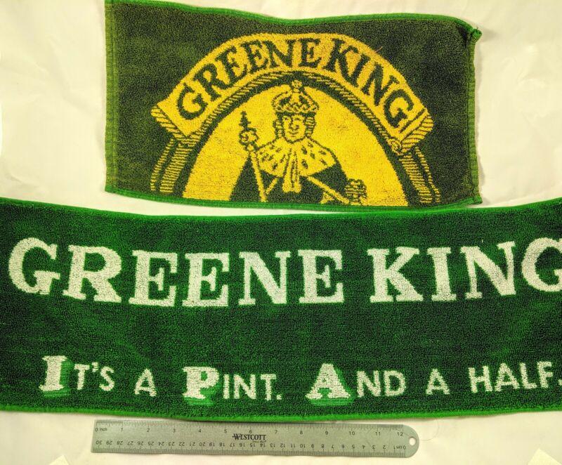 TWO Vintage Greene King Bar Towels, 100% Cotton