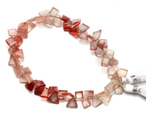 """Natural Andesine Labradorite Gem Faceted Slice Shape Beads Strand 8"""" 54Cts."""