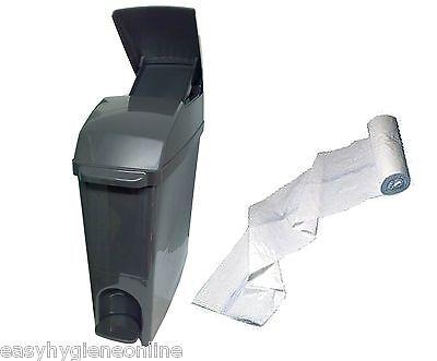 GREY Classic Sanitary Waste Bins Ladies +LINERS Feminine Hygiene Unit Sani bin