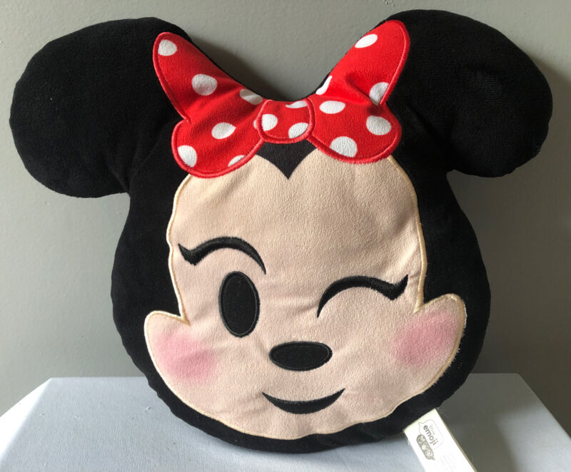 "Disney Emoji Winking Minnie Mouse Head Stuffed Plush Pillow Toy 12"""