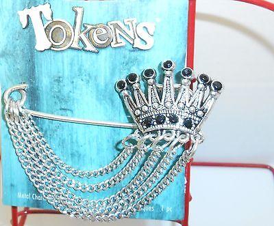 Brooch, Blue Moon Beads, Black Chinese Crystal Rhinestone, Antiqued SilverFinish