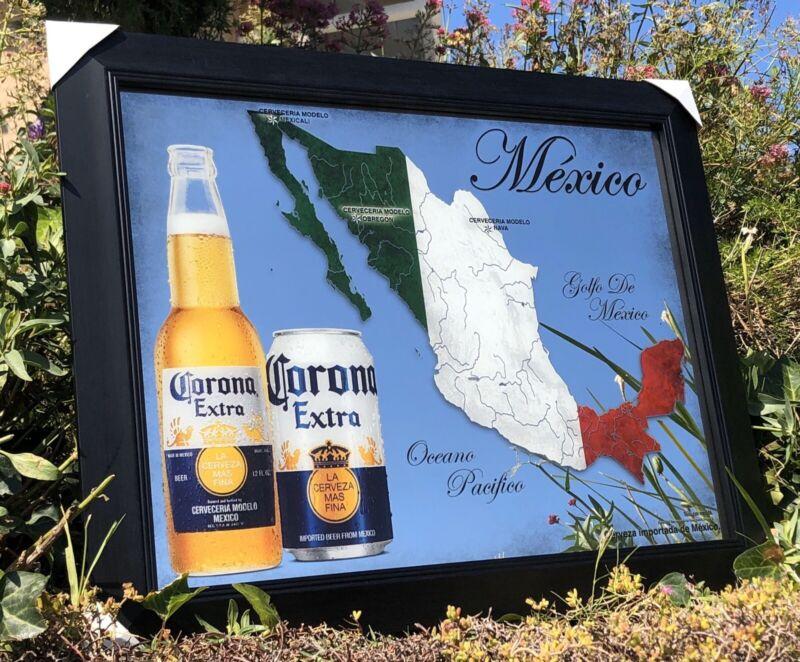 Corona Extra Mexico Map Beer Bar Mirror Man Cave Pub New Wagon