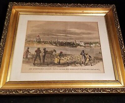 Vintage 1861 Ornate Gold Framed Montgomery Alabama Black Americana Civil War (Montgomery Frames)