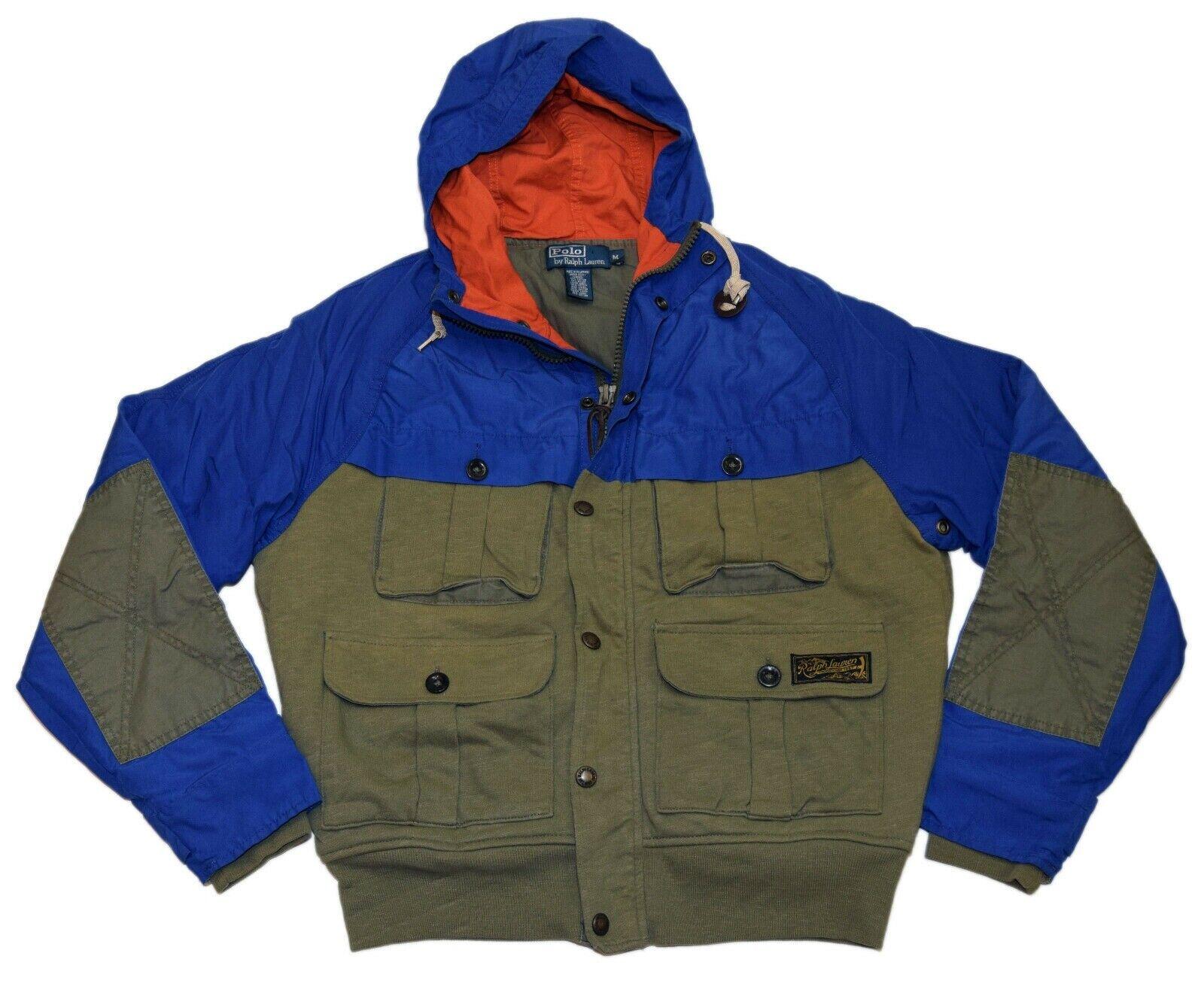 348-polo-ralph-lauren-mens-cotton-hooded-jacket-coat-olive-green-blue-medium