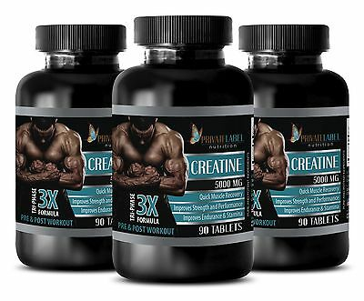(Pure Creatine Monohydrate Powder 3X 5000mg HCL Weight Gainer 3 Bot 270 Capsules)