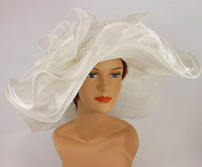 Woman Church Kentucky Derby Wedding Sinamay 3 Layers Dress Hat 3034 Off White