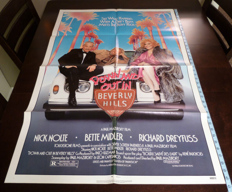 DOWN AND OUT IN BEVERLY HILLS Original 1986 Nolte Midler Movie Poster 27x41