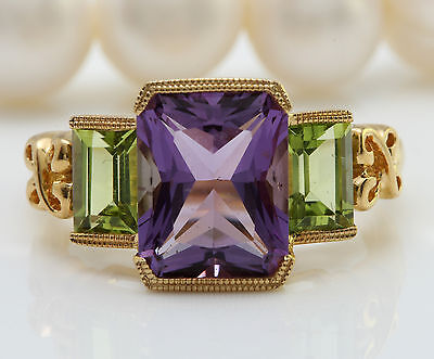 6.10 CTW Natural Amethyst and Peridot in 14K Yellow Gold Women Ring