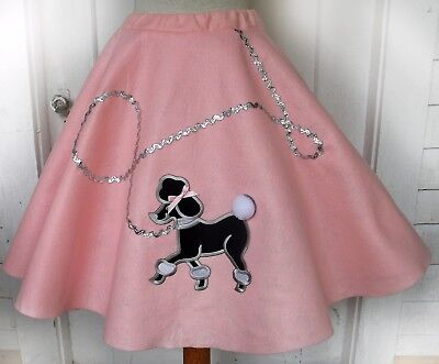Adult Ladies Baby Pink Handmade Poodle Skirt Shorter Length Choose Sz 50s Grease
