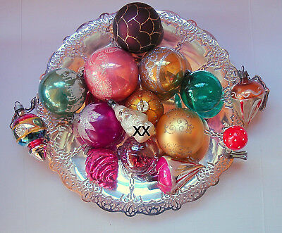 VINTAGE14 Christmas Glass Ornaments Mushroom Clip, Mercury, Indent, Clear, Mica (Clear Glass Ornaments Bulk)