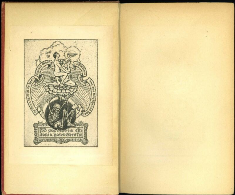 Art Nouveau Jugendstil Ex Libris Skeleton Bookplate Book Plate Paul Hofer Affixd