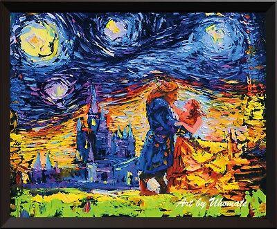 Beauty and The Beast Beauty Beast Van Gogh Starry Night Canvas Wall Decor A001 (Beauty And The Beast Decor)