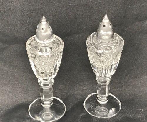 Vintage Crystal Salt & Pepper Set Footed Multisided Stem Crystal Salt & Pepper