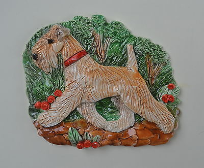 Wheaten Terrier.  Handsculpted ceramic wall plaque.Small.   .OOAK .LOOK