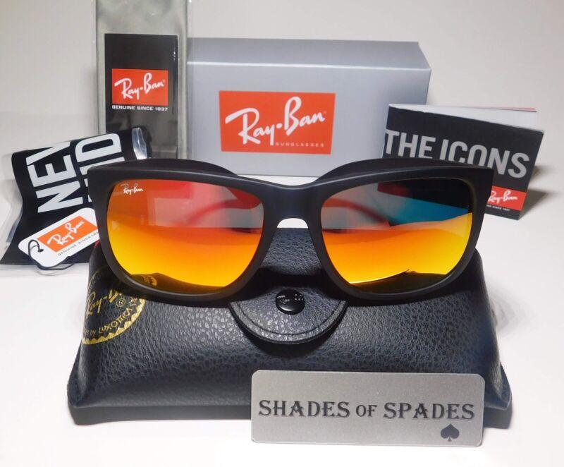 NEW Ray-Ban Justin RB4165 622/6Q Wayfarer Sunglasses/Matte Black/Red Mirror 55MM