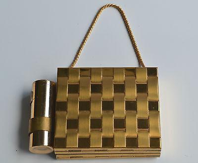 vintage goldtone mini purse COMPACT & LIPSTICK HOLDER & CIGARETTE HOLDER 3 IN 1