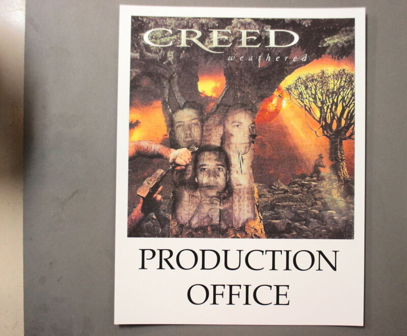 """Creed Backstage Door Sign ! 8.5"""" X 11"""" Weathered - Production Office !"""