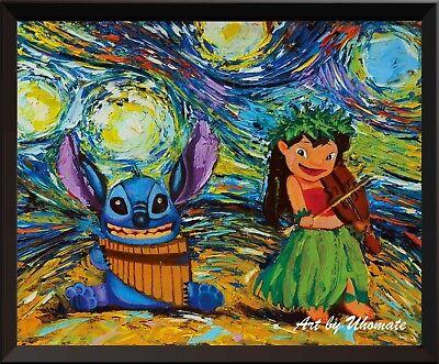 Lilo and Stitch Ohana Stitch Tattoo Van Gogh Starry Night Poster Wall Decor A008 - Stitches Tattoo