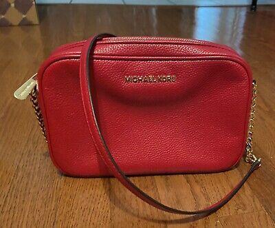 Michael Kors RED Jet Set Large East West Saffiano Leather Crossbody Bag Handbag