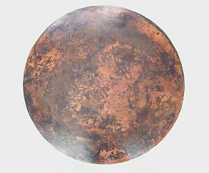 Mexican Round Copper Table Top Hand Hammered 36 Inches Stained Patina
