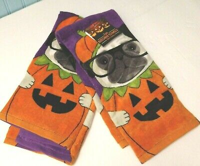 "2-Pug in a Jack-o-Lantern Whimsy Kitchen Towels Soft Colorful Absorbent 16""/26"""