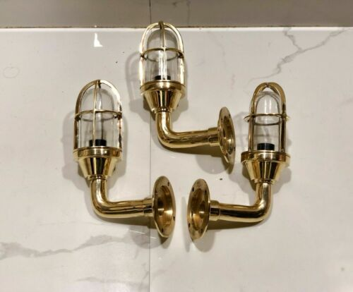 NAUTICAL STYLE ALLEYWAY BULKHEAD WALL BRASS SMALL NEW LIGHT 3 PIECE