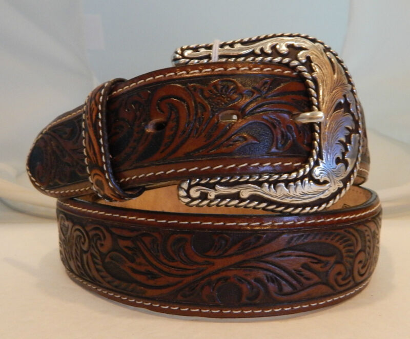 Justin New 2 Tone Tooled Leather Belt  Size 38 Made in USA  C13385 NWT