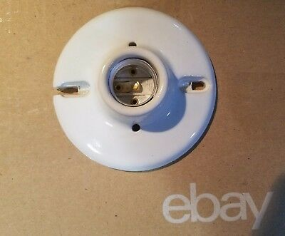 Porcelain Lampholder - NEW White Porcelain Keyless Lampholder Light Socket 660W 250V + Mounting Screws