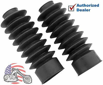 Black Heavy Duty Fork Boots Gaitors 49MM Long Harley 06-17 Dyna Extended Length