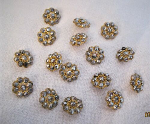 Lot of 16 Vintage Cut Steel / Marcasite Matched Set Sewing Buttons