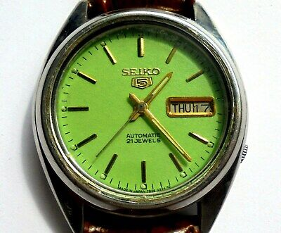 Vintage Seiko 5, Rare Green Dial 21 Jewels Day Date Automatic Mans Watch.Working
