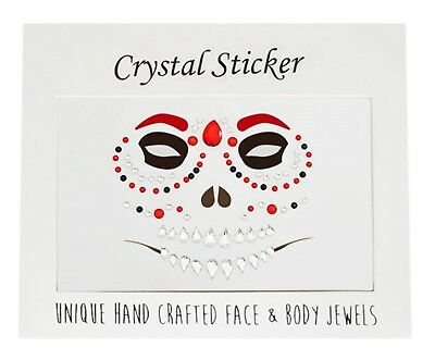 Crystal Acrylic Bling Gems Halloween Skull Skeleton Face Eye Sticker makeup art
