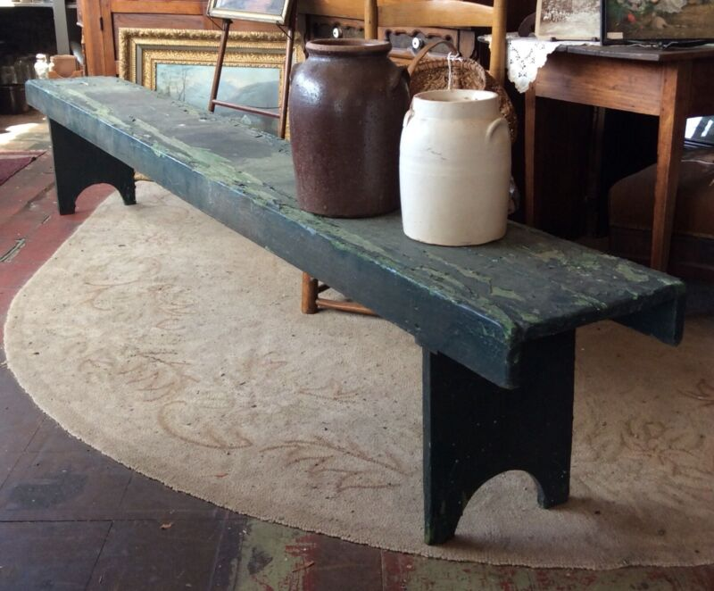 Antique Primitive 9 Foot Long Farm Bench