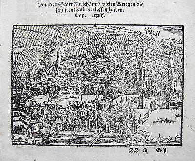 ZÜRICH SEBASTIAN MÜNSTER ORIGINAL-HOLZSCHNITT COSMOGRAPHIA 1578 ZURICH ZURIGO