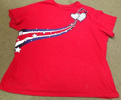 Rot-Weiß-Blau Damen T-Shirt 3XL 22-24 Herzen Sterne Streifen Patriotisch ()