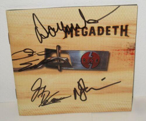 MEGADETH SIGNED RISK CD DAVE MUSTAINE ELLEFSON ROCK AUTOGRAPH PROOF X4
